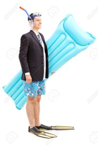 Man with suit carrying swimming mattress
